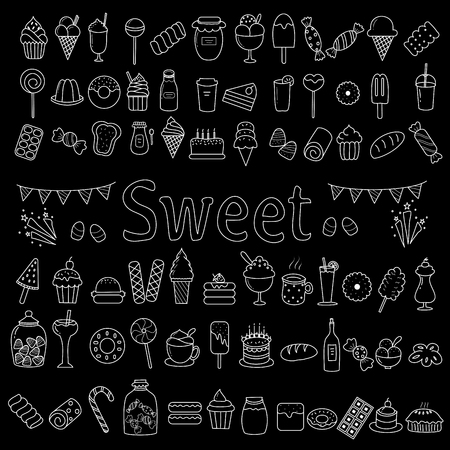 Sweet dessert icon set of doodle style.hand drawn.vector illustration.