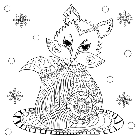 Coloring book of fox in winter for adult.zentangle style.vector illustration. handdrawn.