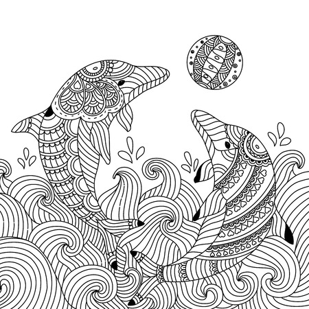 Coloring book of dolphin couple for adult. doodle style. vector illustration. handdrawn.