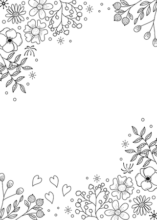 Flower frame coloring book for adult. doodle style.vector illustration. handdrawn. Vettoriali