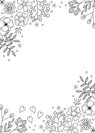 Livre de coloriage de cadre de fleur pour adulte. illustration de style.vector doodle. dessiné à la main.