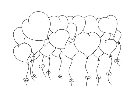 Coloring book page in valentine's day.  Hand drawn. doodle style. Ilustrace