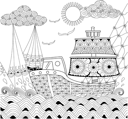 Boat for adult coloring with design. hand drawn illustration. vector stock. Illustration
