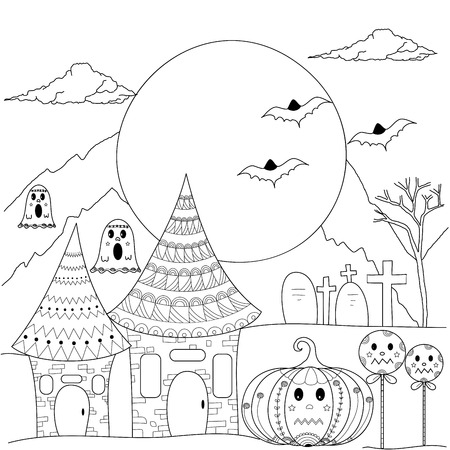 Coloring book page of halloween night for adult and children.vector illustration.