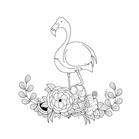 Flamingo in floral  for adult coloring book page.vector illustration.