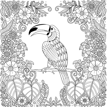Tropical hornbill bird in jungle with flowers for adult coloring book page.vector illustration.Hand drawn.