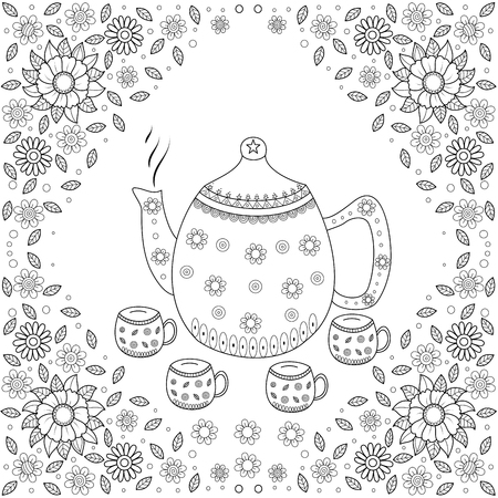 Coloring book page of teapot for adult.vector illustration.Hand drawn.