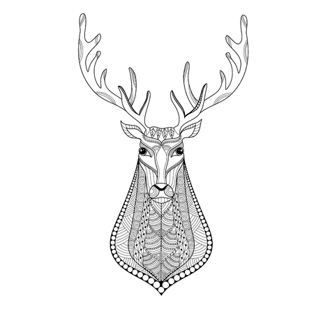 Deer head stylized for adult coloring book page.vector illustration. Stock Illustratie