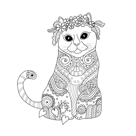 Coloring book page of cat doodle style.