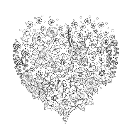Coloring book page of flower heart for adult.Valentine's day. Vector illustration. Hand drawn. doodle style.