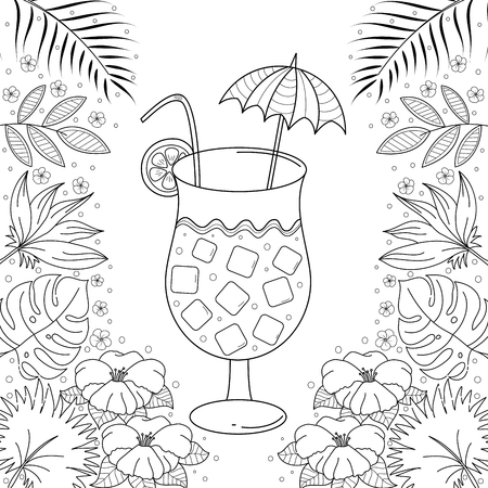 Juice with tropical coloring book for adult. Hand drawn. Vector illustration. Doodle style.