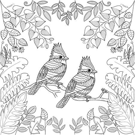 Tropical birds for adult coloring book page.stlyized.vector illustration.