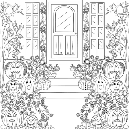 Coloring book page of halloween pumpkin house for adult and children.vector illustration.Hand drawn.
