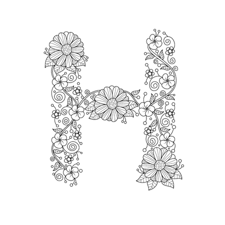 Floral alphabet letter H coloring book for adults. vector illustration.Hand drawn.Doodle style. Иллюстрация