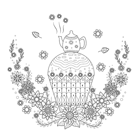 Coloring book page of teapot with cupcake for adult.vector illustration.Hand drawn.