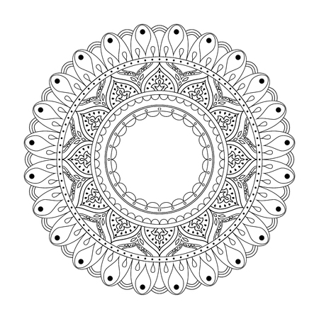 Mandala hand drawn . Image for backgrounds and adult coloring pages, books. Vector illustration