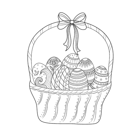 Easter egg coloring book for adult and kid. Doodle style. Vector illustration. Hand drawn.