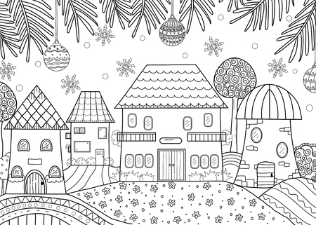 coloring book of winter season home for adult and kids. vector illustration. doodle style. handdrawn.