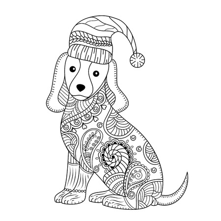Coloring book of cute dog for adult.style. vector illustration. handdrawn.