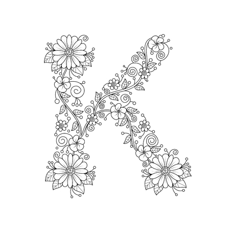 Floral alphabet letter K coloring book for adults. vector illustration.Hand drawn.Doodle style. Иллюстрация