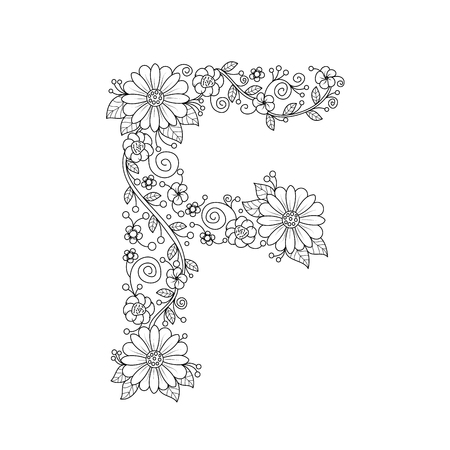 Floral alphabet letter F coloring book for adults. vector illustration.Hand drawn.Doodle style.
