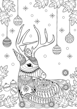 Christmas reindeer coloring book for adult and children. vector illustration. style. handdrawn.
