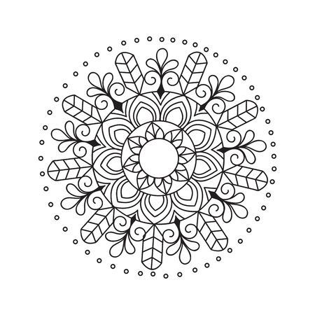 Mandala hand drawn. Zen-tangle illustration. vector stock.