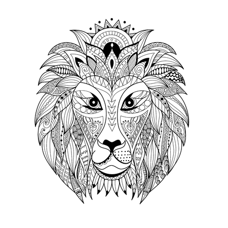 Hand drawn  lion head for adult and children coloring book page.vector illustration.