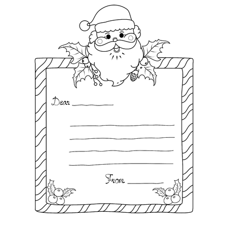 Coloring book page of christmas frame for adult and kids. vector illustration. doodle style. handdrawn. Ilustração