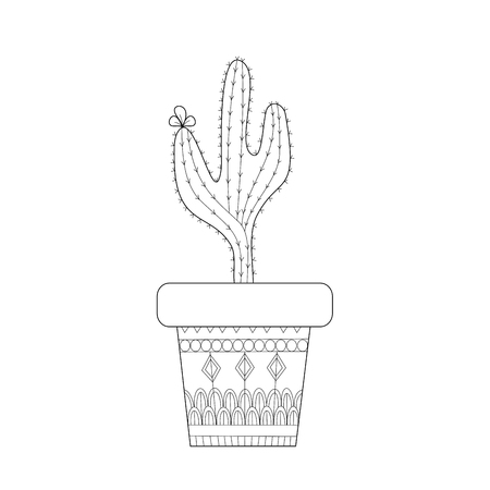 Cactus style for adult and children coloring book page.vector illustration. Ilustração