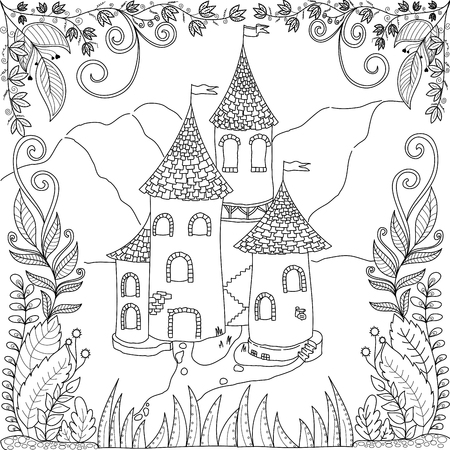 Coloring book page of castle in jungle for adult and children.vector illustration. Ilustração