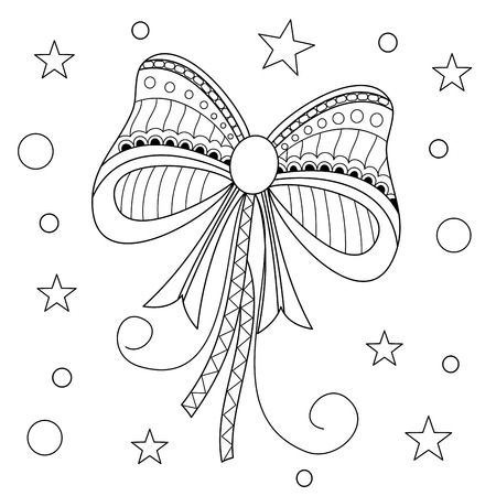 Coloring book of red bow for adult.style.vector illustration.handdrawn.