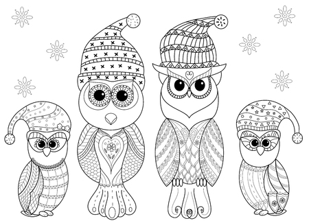 Coloring book page of owl family for adult and old children. vector illustration. Hand drawn. style. Ilustração