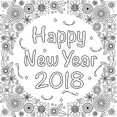 New year 2018 coloring book page for adult.doodle style.vector illustration.handdrawn.style. Ilustração