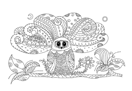 Owl illustration for adult coloring. vector illustration. Ilustração