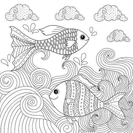 Coloring book of gold fish in winter for adult style. vector illustration. handdrawn.