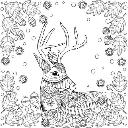 Coloring book of reindeer in winter for adult.style. vector illustration. handdrawn.