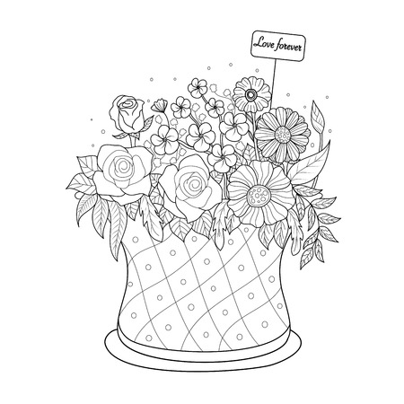 Coloring book page of flower basket for adult.Valentine's day. Vector illustration. Hand drawn. doodle style.