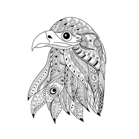 Hand drawn eagle head for adult and children coloring book page.vector illustration.