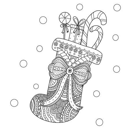 Coloring book page of christmas sock for adult. doodle style.Hand drawn. Vector illustration.
