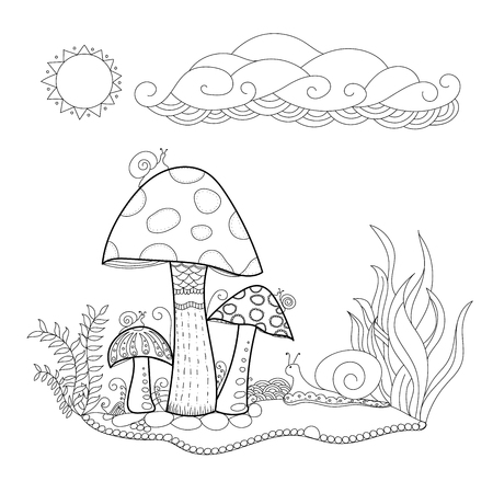 Mushroom for Coloring book. vector illustration. Ilustração