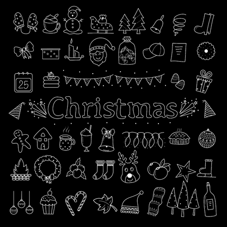 Christmas icon set doodle style.vector illustration. Hand drawn.