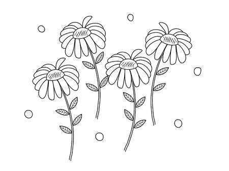Coloring book page of flowers for adult and kids. doodle style. vector illustration. handdrawn.