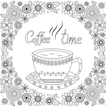 Coloring book page of coffee cup for adult.vector illustration.Hand drawn. Ilustração