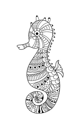 Seahorse illustration for adult and children coloring page, tattoo, wallpaper. vector illustration.