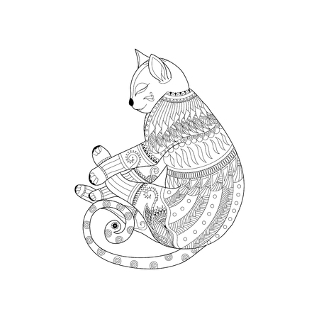 Sleeping cat in style for adult coloring book page.vector illustration. Ilustração