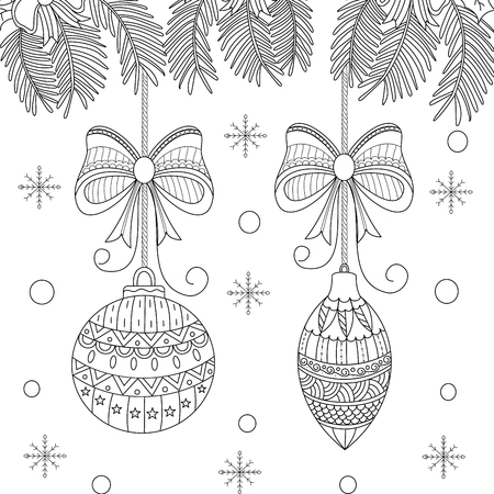 Coloring book page of christmas ball for adult. doodle style. vector illustration.Hand drawn.
