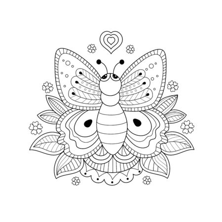 Butterfly coloring book for adult and kids. Handdrawn. Vector illustration. Doodle style.