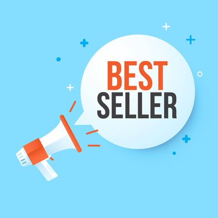 Megaphone best seller  in speech bubble. Concept advertising sale. Vector illustration.