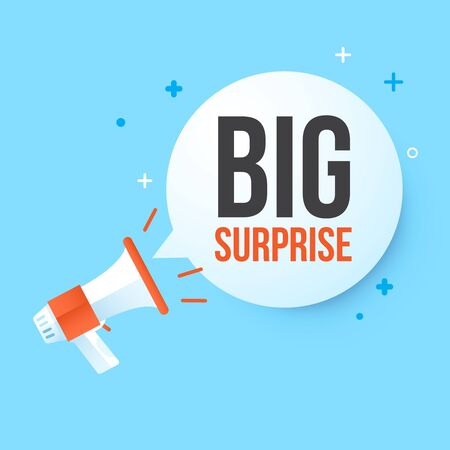 Megaphone big surprise in speech bubble .Concept advertising sale. Vector illustration.